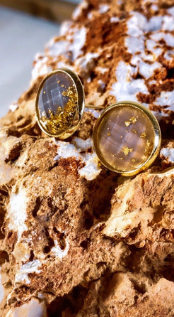 Gray + Gold Leaf Faceted Stud Earrings