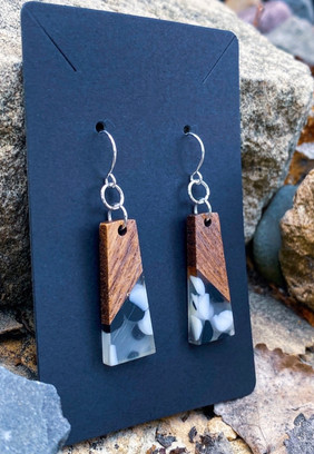 Wood & Black and White Dotted Resin Rectangle Earrings
