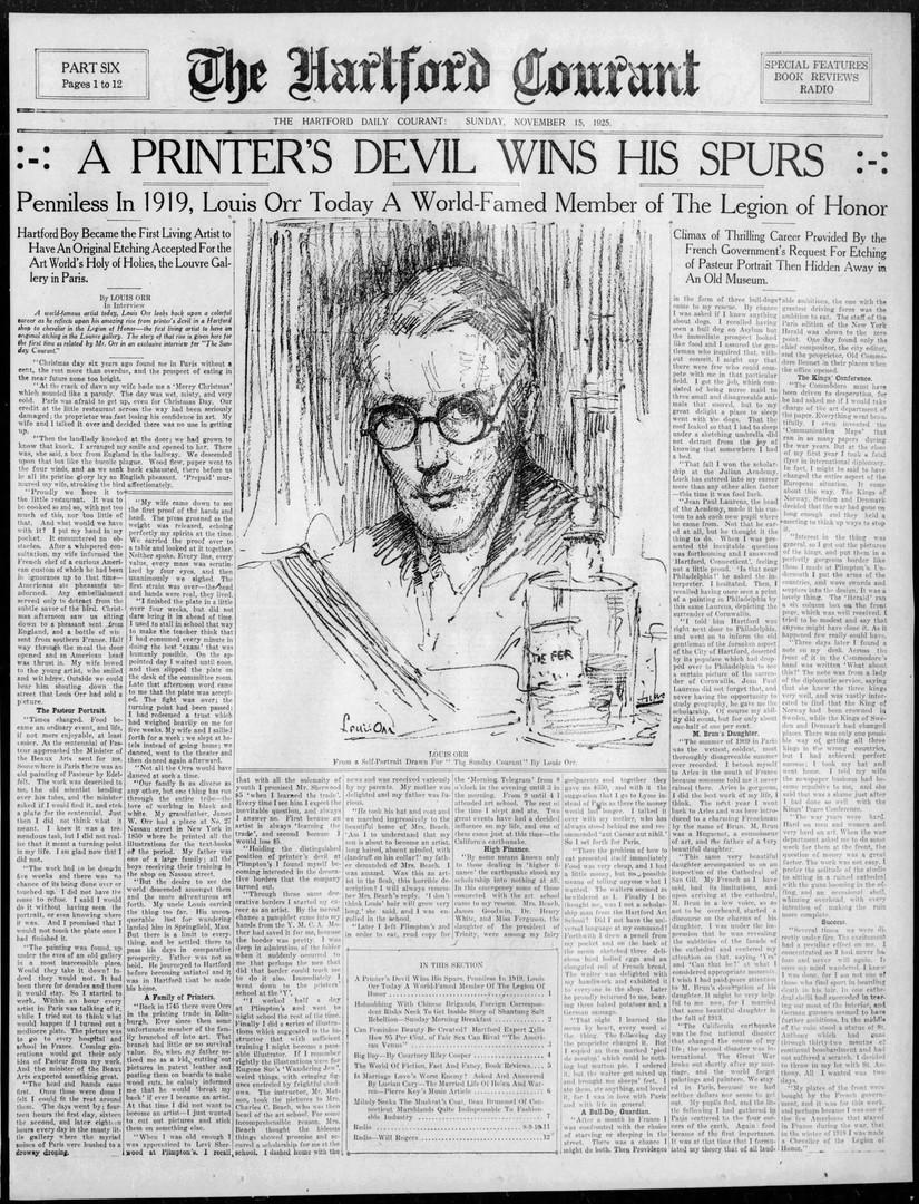 """A Printer's Devil Wins His Spurs,"" The Hartford Courant, November 15, 1925"