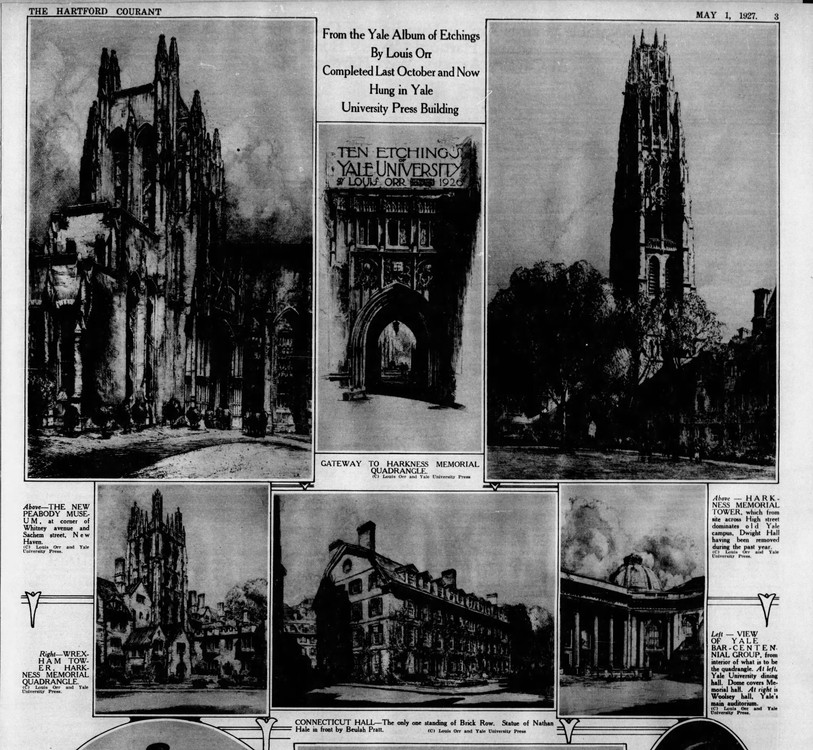 """""""From the Yale Album of Etchings by Louis Orr"""" The Hartford Courant, May 1, 1927"""
