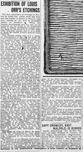 """""""Exhibition of Louis Orr's Etchings"""" The Boston Globe, October 26, 1920"""
