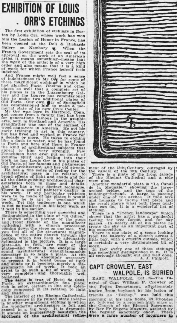 """Exhibition of Louis Orr's Etchings"" The Boston Globe, October 26, 1920"