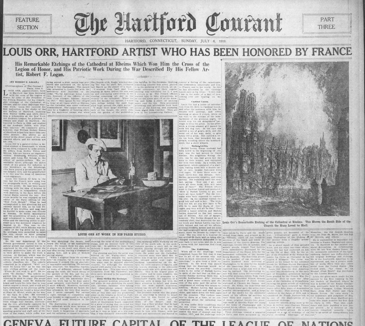 """Louis Orr, Hartford Artist Who Has Been Honored by France"" The Hartford Courant, July 6, 1919"