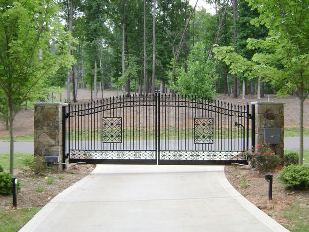 Custom Aluminum Gate with Stone Columns