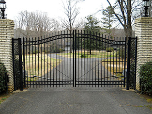 Estate Gate with Rose Scroll Side