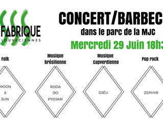 Barbecue/concert mercredi 29 juin