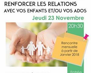 Rencontre parentalité Jeu 23/11 à 20h30