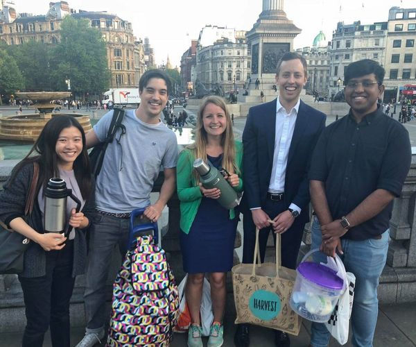 Hot Choc Mob Volunteers with bags of donated goods for London's homeless community