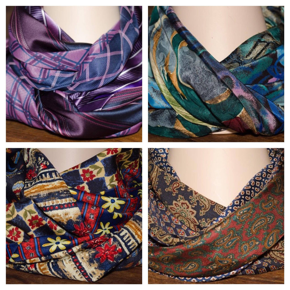 Scarves made from upcycled neckties