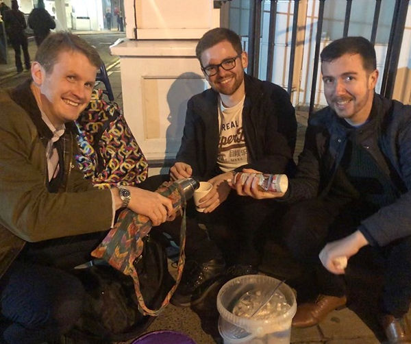 Hot Choc Mob volunteers making hot chocolate for the homeless on a London street
