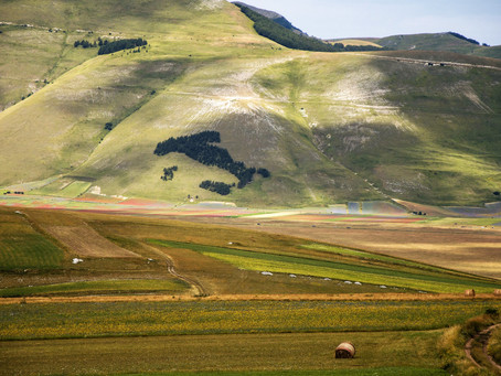 The tableland of Castelluccio di Norcia and its famous map of Italy