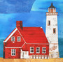 Red house and lighthouse