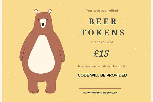 Beer Tokens (Gift Voucher) £15