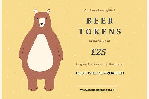 Beer Tokens (Gift Voucher) £25