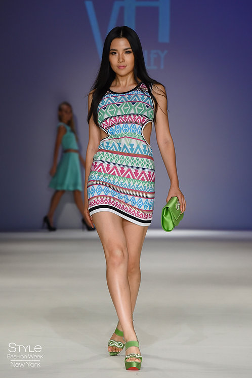 TRIBAL CUTOUT BODY CON DRESS
