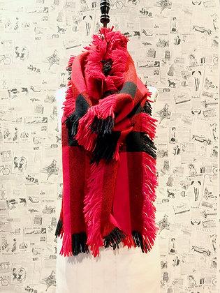 Burberry Prorsum Fringe Half Mega Check Wool Scarf