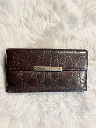 Gucci Continental Brown Guccissima Leather Snap Wallet