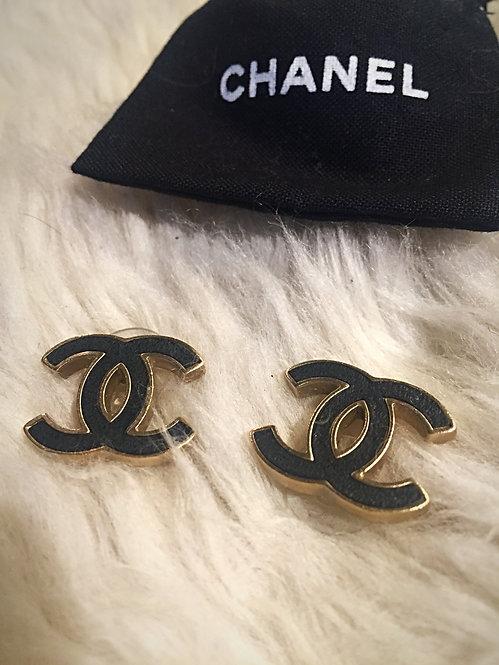 Chanel Leather CC Stud Earrings