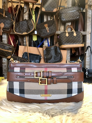 Burberry Briddle Leather-Trimmed Crossbody