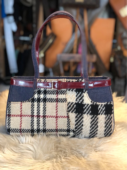Burberry Nova Check Denim & Wool Shoulder Bag
