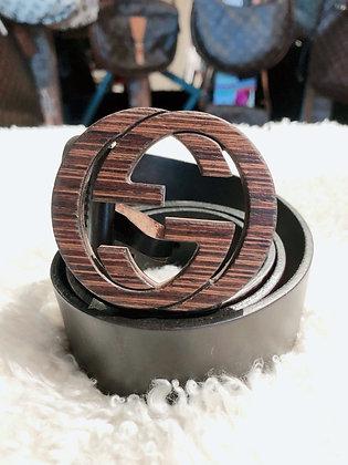 Gucci Wooden Interlocking GG Leather Belt