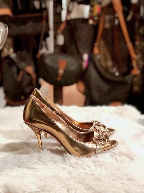 Gucci Aubergine Gold Horsebit Peep Toe Heels