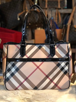 Burberry Leather-Trimmed Super Nova Check Tote Bag