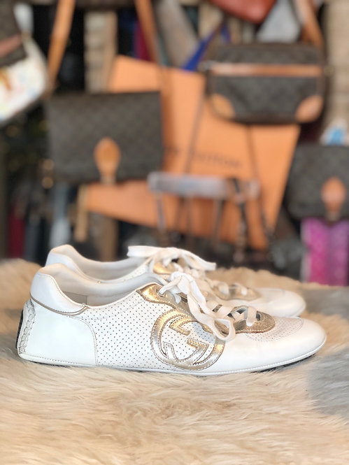 gucci white silver perforated gg sneakers