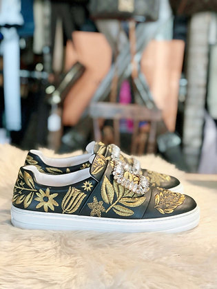 Roger Vivier Embroidered Leather Sneakers