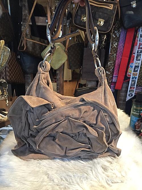 Yves St-Laurent Ruffled Suede Shoulder Bag
