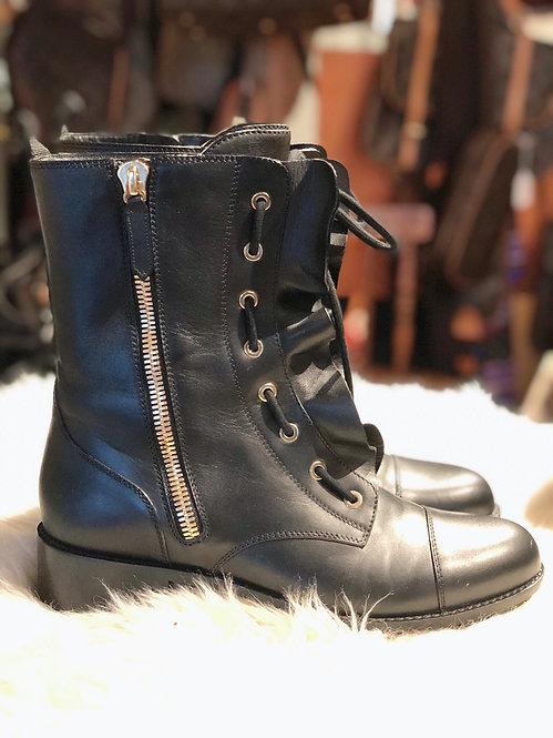 Valentino Leather Ruffle Trim Boots