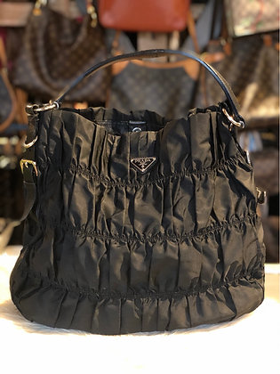 Prada Nylon Ruffled Shoulder Bag