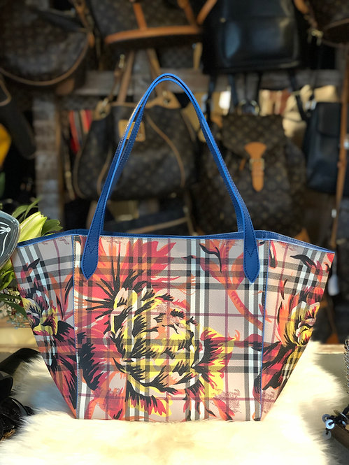 Burberry  Haymarket Check Coated Canvas Peony Rose Canter Tote Bag