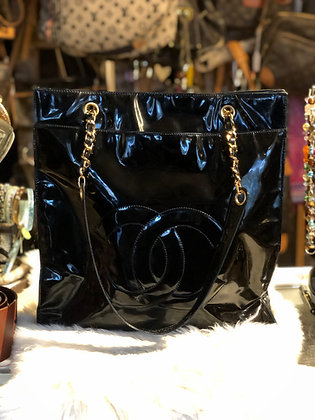 Chanel CC Black Patent Leather Shoulder Bag
