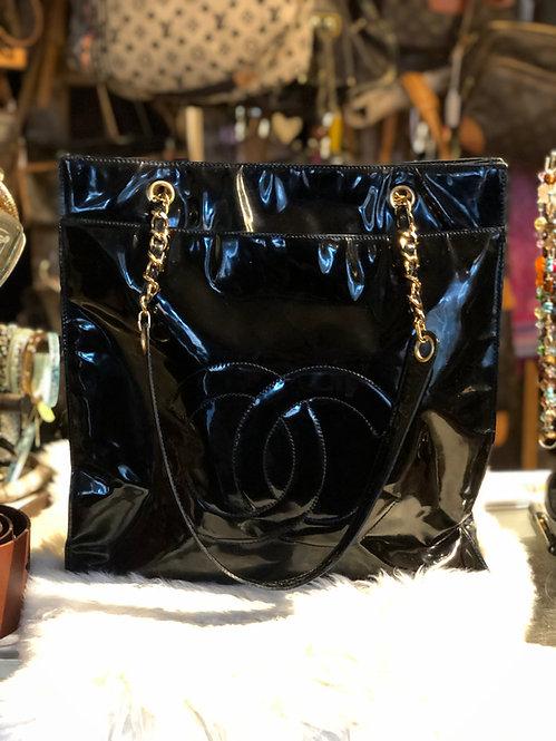 Chanel CC Black Patent Leather Shoulder Bag