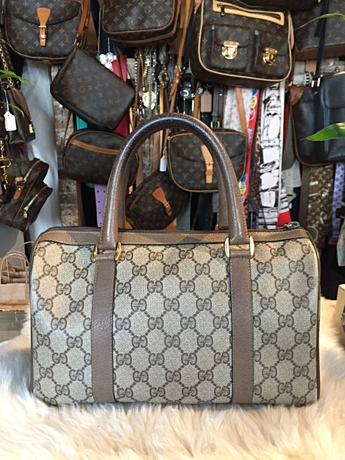 f2fa7088010 Brown and tan GG Plus coated canvas Gucci vintage Plus Web Boston bag with  gold-tone hardware