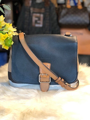 Burberry Leather Trimmed House Check Crossbody