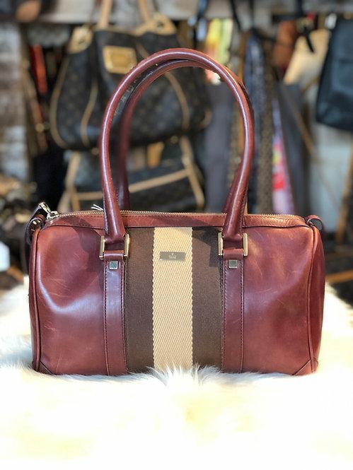 Gucci Vintage Small Web Boston Bag