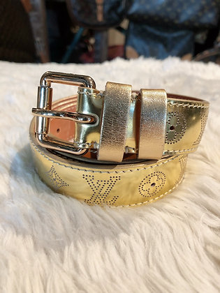 Louis Vuitton Gold Miroir Perforated Belt