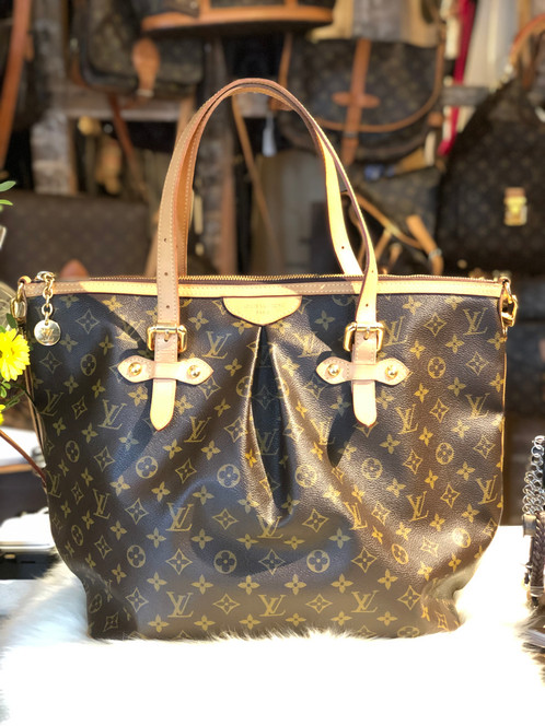 a42b01a8ea Brown and tan monogram coated canvas Louis Vuitton Palermo GM with brass  hardware, dual leather top handles, single detachable shoulder strap, tan  vachetta ...
