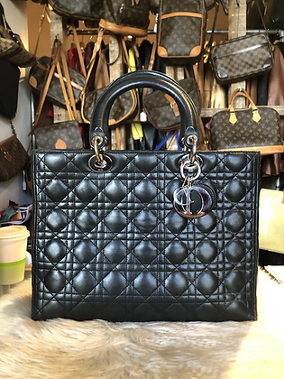 Christian Dior Quilted Cannage Large Lady Dior Bag