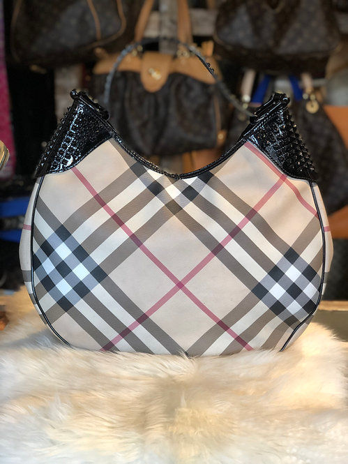 Burberry Patent Leather-Trimmed Nova Check Hobo