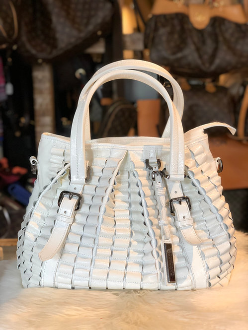 Burberry Lowry White Patent Leather Ruffled Tote