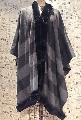 Burberry Cashmere Cape with Rabbit Trim