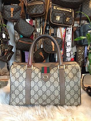 Gucci Vintage GG Plus Web Boston Bag