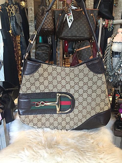 Gucci GG Canvas Hasler Horsebit Hobo