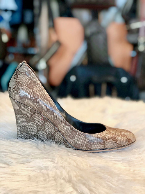 Gucci GG Crystal Wedge Pumps