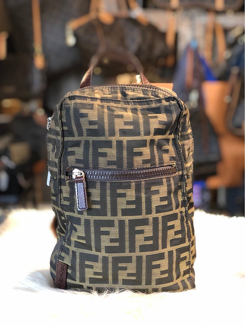 Fendi Zucca Small Leather-Trimmed Backpack