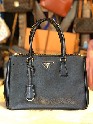 Prada Medium Saffiano Lux Double Zip Galliera Tote