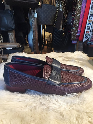 Chanel Woven Burgundy & Navy Loafer